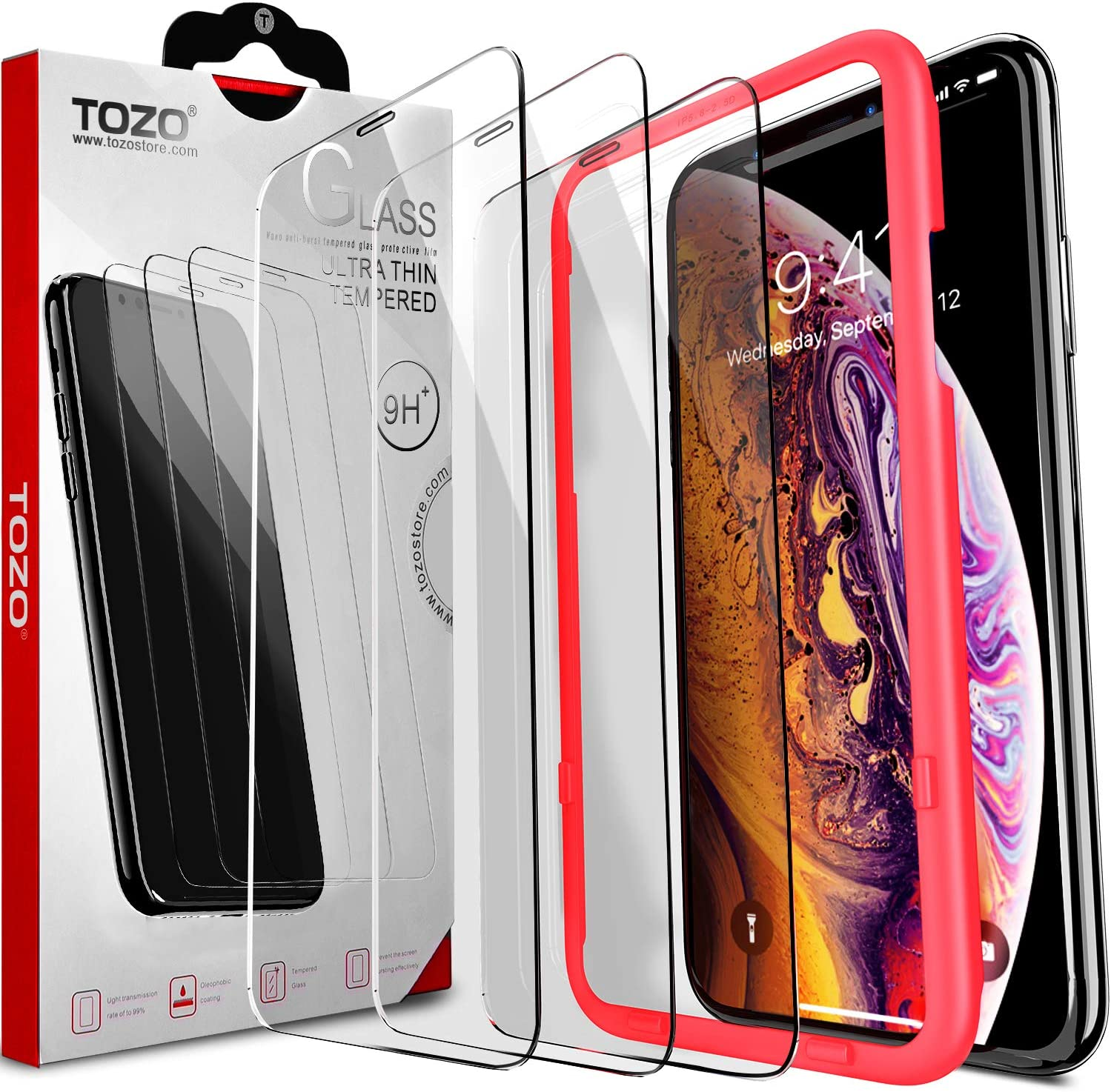TOZO Compatible for iPhone 11 Pro/XS/X Screen Protector [3-Pack] Premium Tempered Glass [0.26mm] 9H Hardness 2.5D Film Super Easy Apply for iPhone 11 Pro/XS/X 5.8 Inch