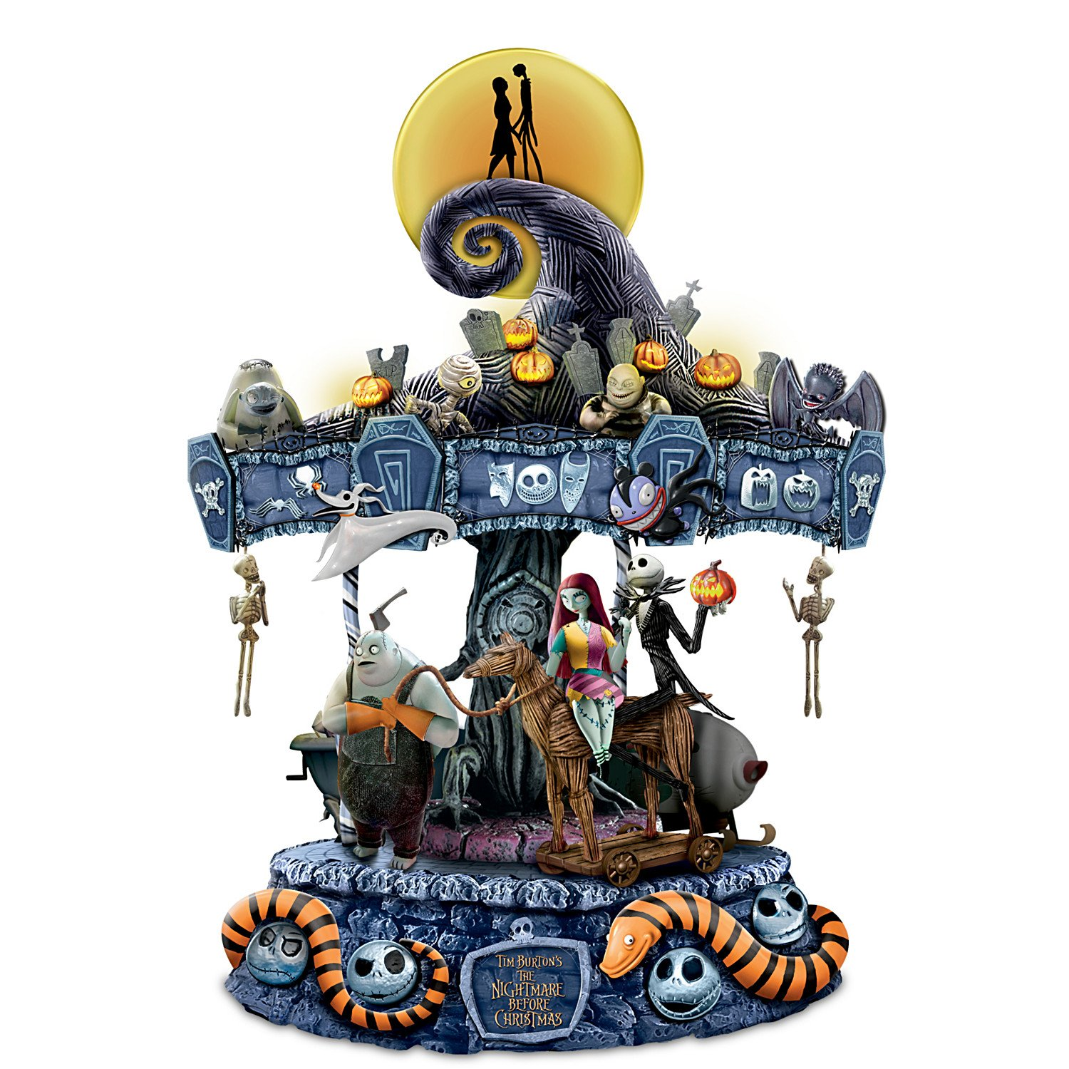 Tim Burton's The Nightmare Before Christmas Rotating Musical Carousel Sculpture: Lights Up by The Bradford Exchange by Bradford Exchange