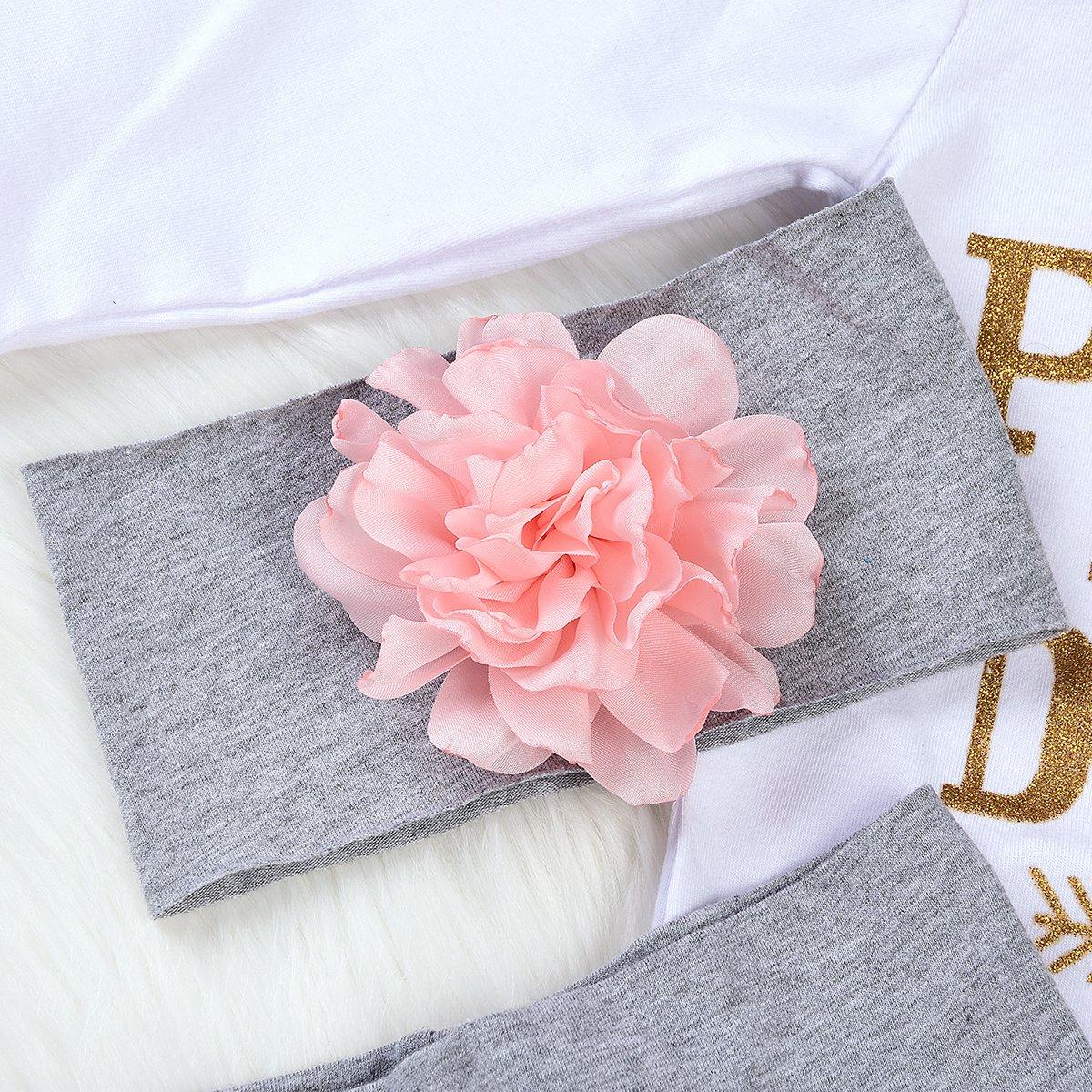 4PCS Set di Abiti per la Fascia del Cappello dei Pantaloni Floreali del Pagliaccetto della Principessa del pap/à delle Neonate