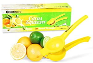 Freshpire Premium Lemon Squeezer - Manual Citrus Juicer Press - Squeeze Lemon Lime Orange and Extract All Fruit Juice - Easily Clean Aluminum Metal for Heavy Duty Handheld Use - Dishwasher Safe