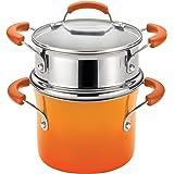 Rachael Ray Hard Enamel Nonstick 3-Quart Covered Steamer Set, Orange Gradient