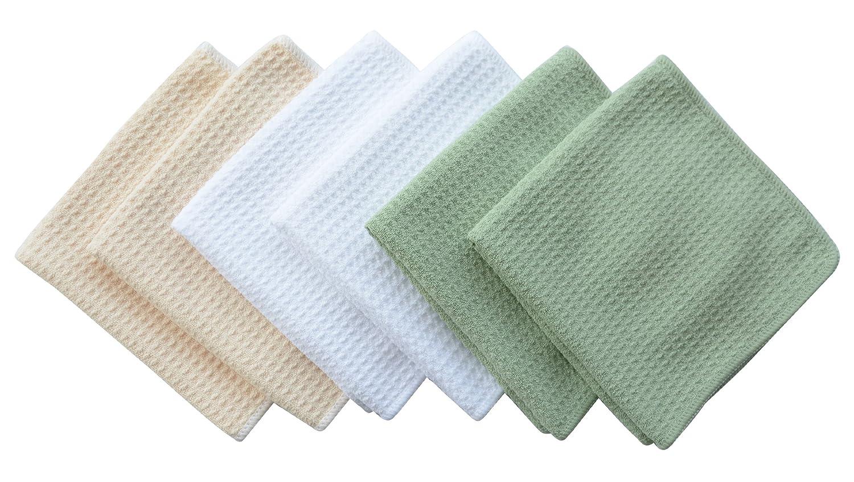 Sinland 13x13 Microfiber Waffle Weave Dish Cloths Dishcloths Washcloths Facial Cloths (6, Green)