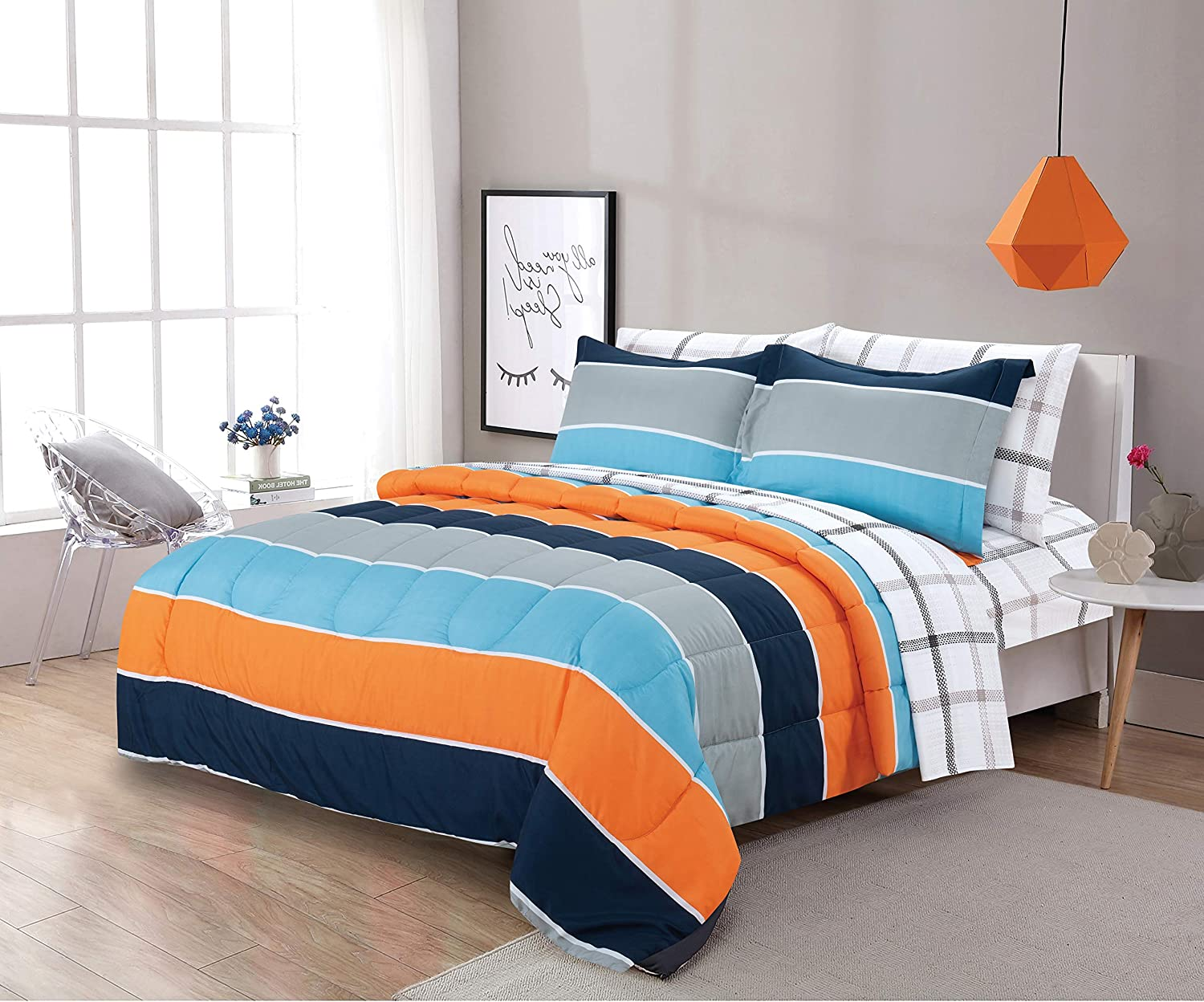 Sapphire Home 5 Piece Twin Size Comforter Set Bed in Bag with Shams, Sheet Set Plaid Design, Blue Orange Gray Stripes Print Multicolor Boys Kids Girls Teens Bedding w/Sheets, (Kids Stripe, T, 5pc)