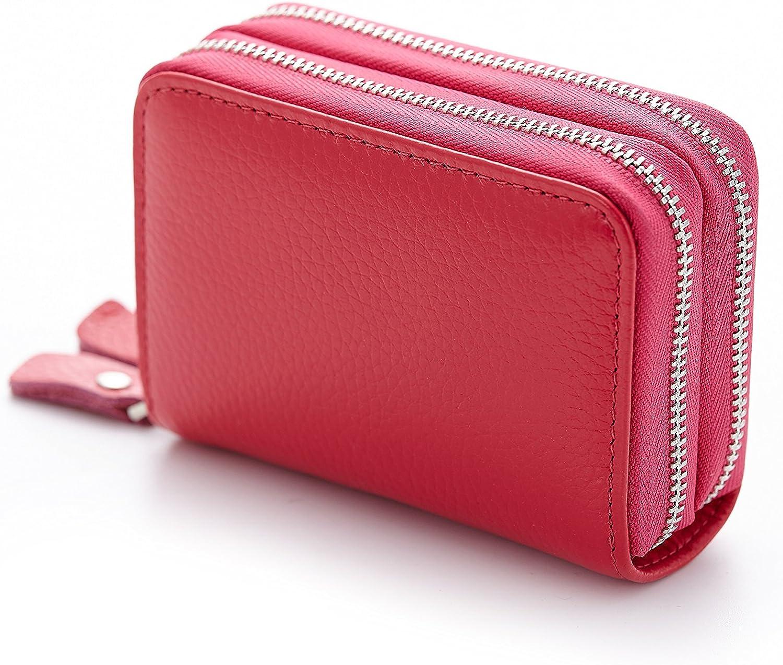 Solid Premium Genuine Leather Women/'s Credit Card Stacker Long ID Zip Wallet