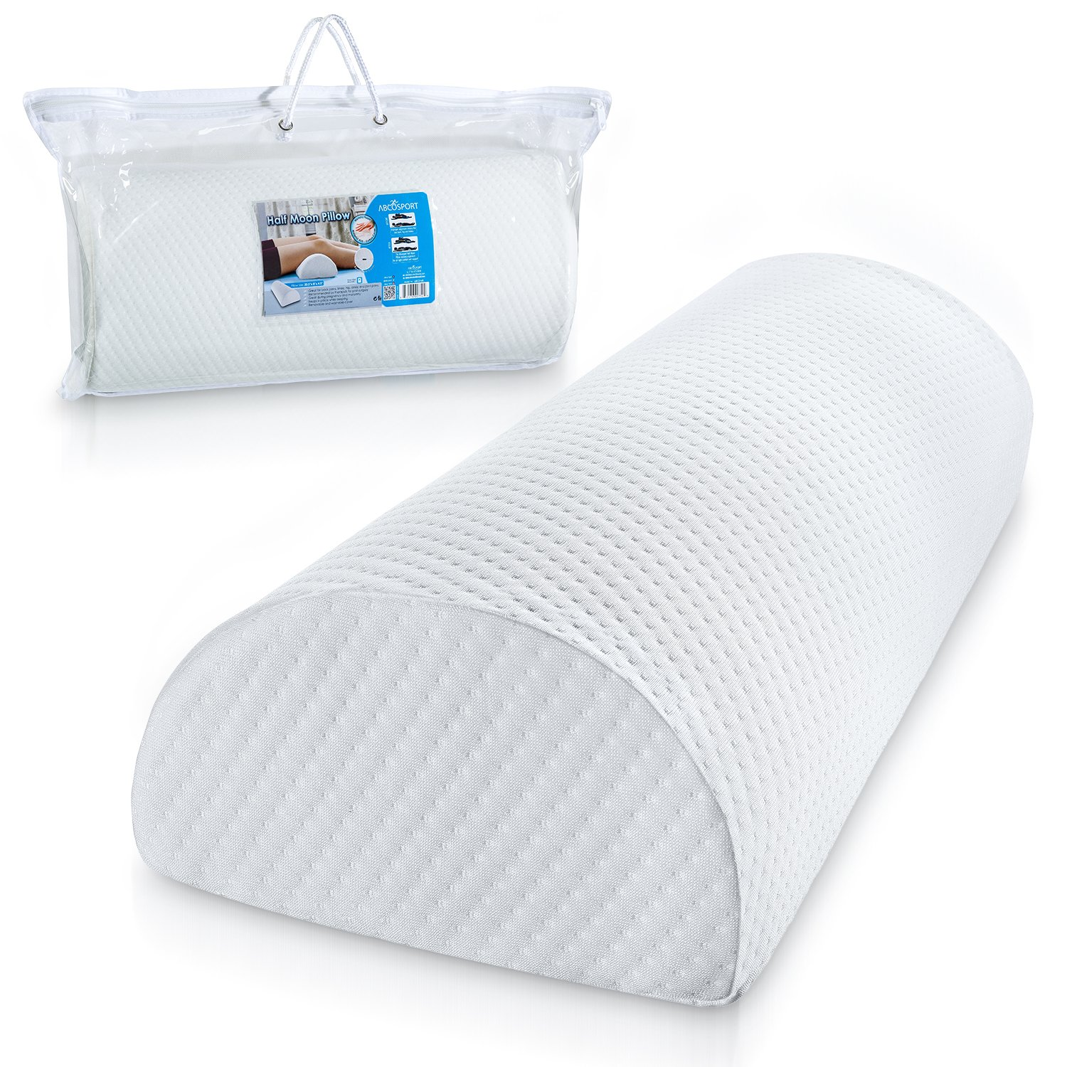 Abco Tech Half Moon Pillow Bolster - Pain Relief Memory Foam Cushion with Removable/Washable Cotton Cover – Reduced Stress on Spine, Effective Support for Side and Back Sleepers etc. (White) by Abco Tech (Image #9)