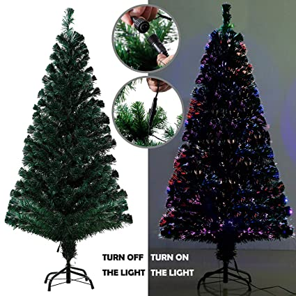 Eforink 6ft Pre Lit Fiber Optic Artificial Pvc Christmas Tree Multicolor And Stand Holiday Lighted
