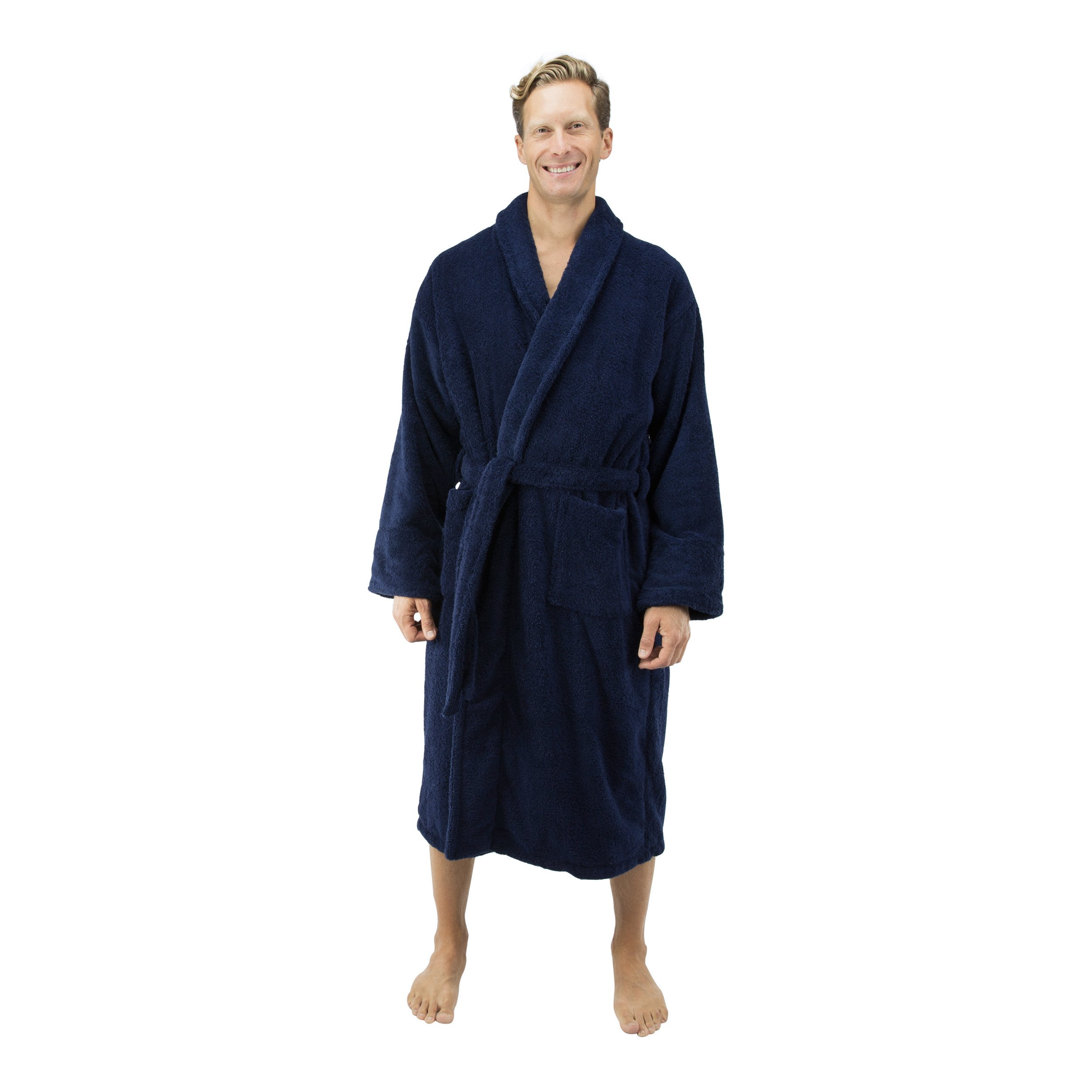 Comfy Robes Personalized Men's Deluxe 20 oz. Turkish Terry Bathrobe, L/XL (OSFM) Tall Navy
