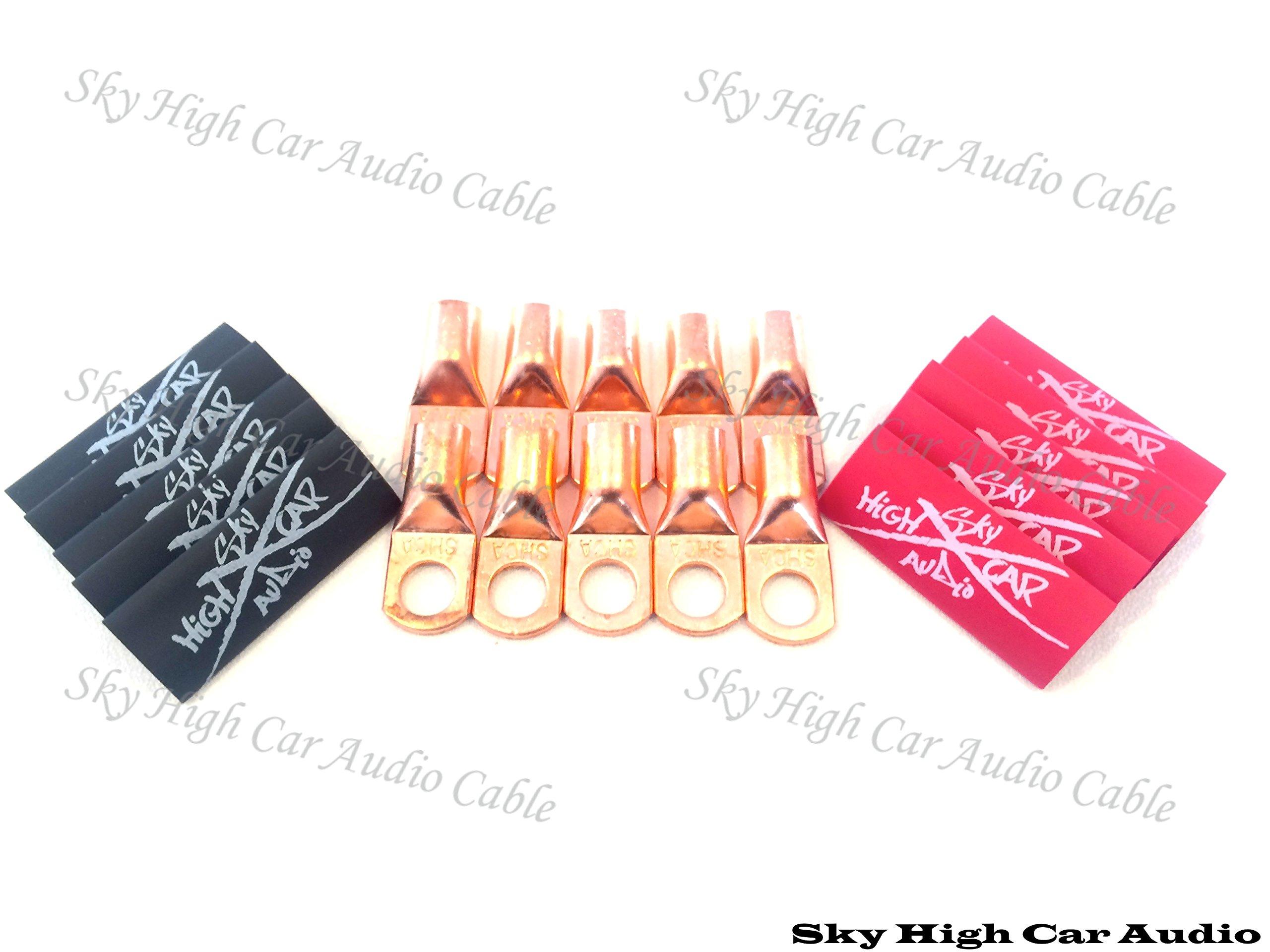 (10) 4 Gauge Copper Ring Terminals 3/8'' Red/black Heat Shrink Tubing Lugs