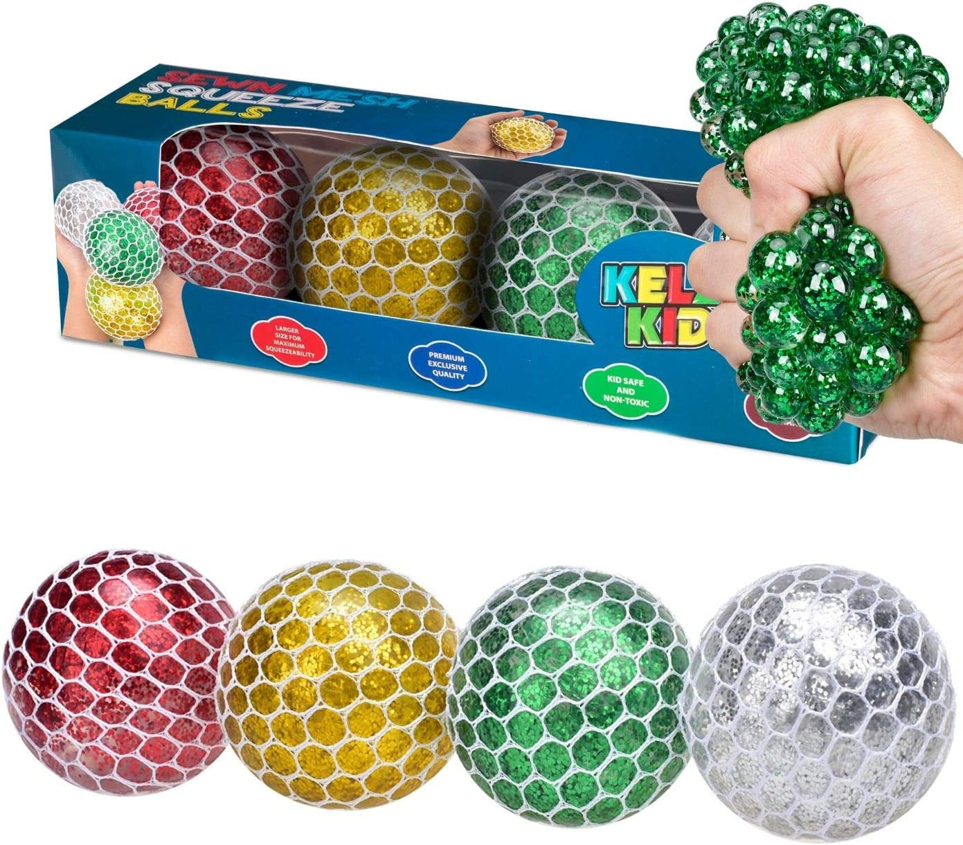 KELZ KIDZ Light Up Sewn Mesh Squishy Grape Ball for Kids - Great Fun Squeeze Stress and Fidget Toy for Adults and Children (Pack of 4)