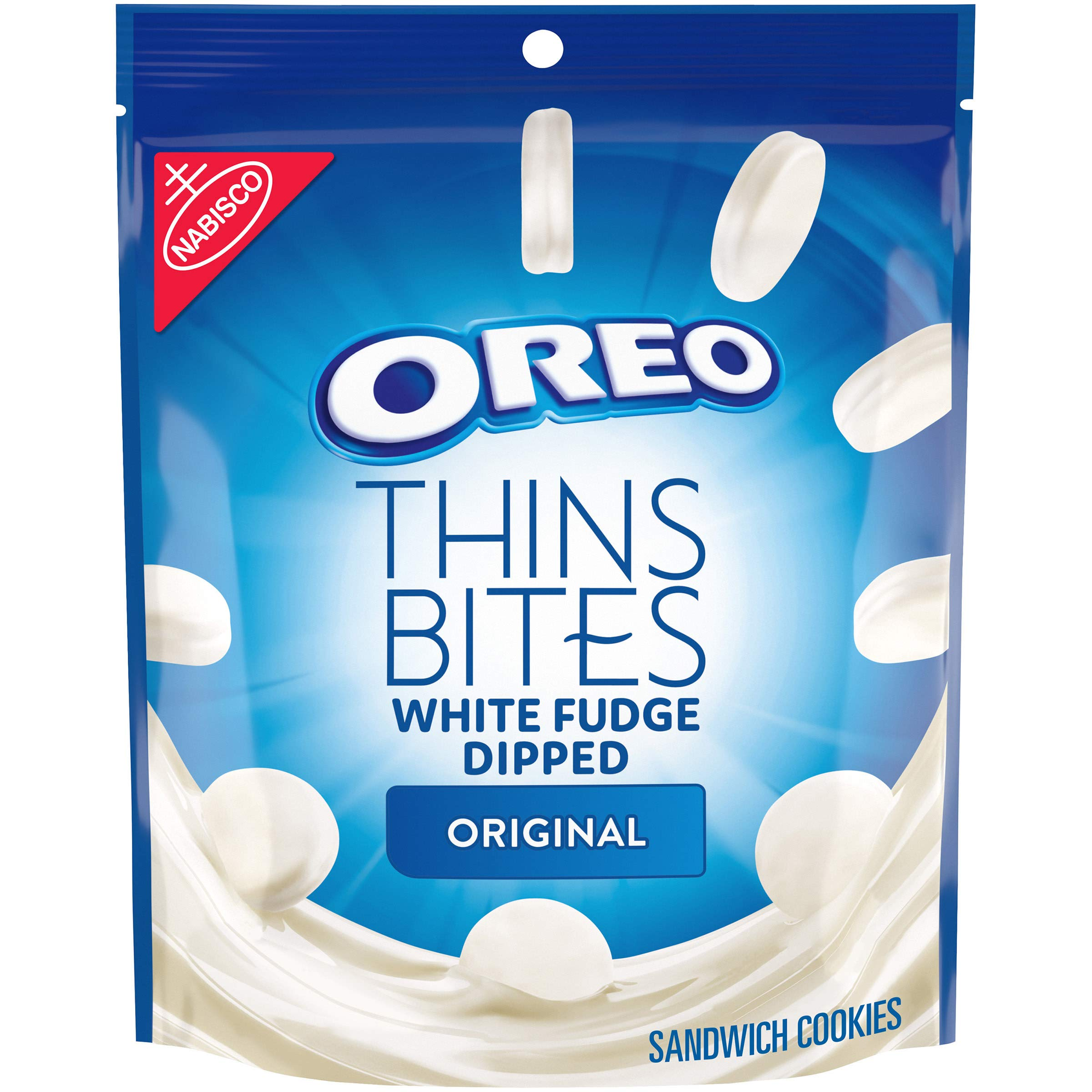 OREO Thins Bites White Fudge Dipped Chocolate Sandwich Cookies, Original Flavor, 1 Resealable 6.4 oz Pack