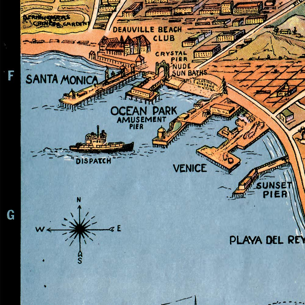 Amazon.com: MAP of Greater Los Angeles : the Wonder City of America circa 1932 - measures 24