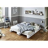 Somier & Cama de palets Blancos - Somieres de pallets juveniles para colchón de 150 x 170, 180, 190, 200 blanca…