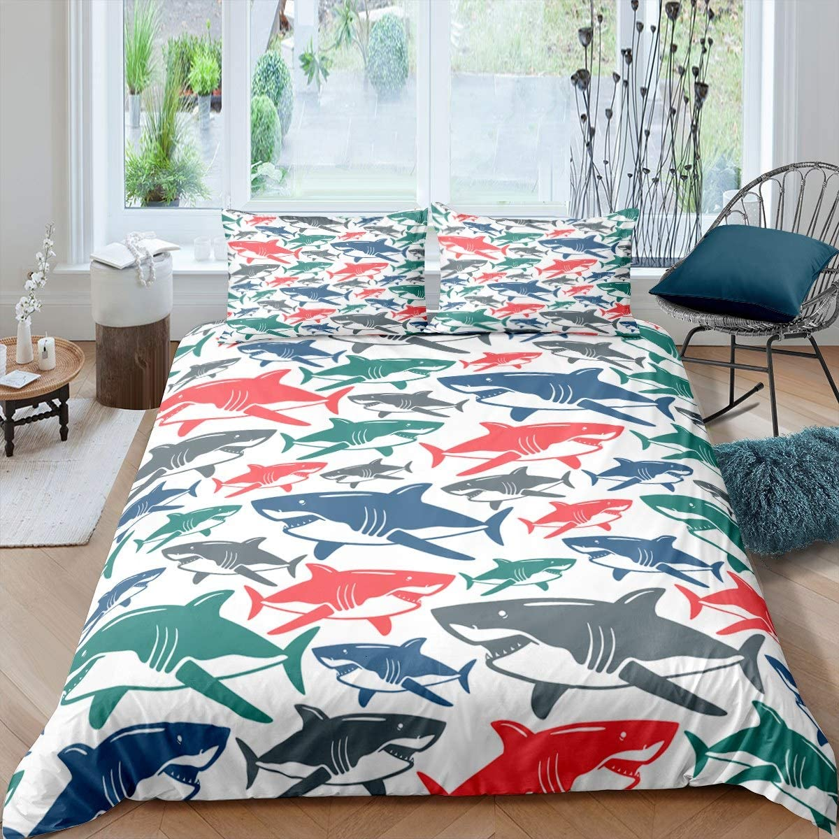 Shark Duvet Cover Set Kids Boys Colorful Bull Shark Fish Family Comforter Cover For Teens Child Marine Life Animals Bedding Set Underwater World Decorative 2 Pcs Twin Size Quality Bed Linen Kitchen Dining