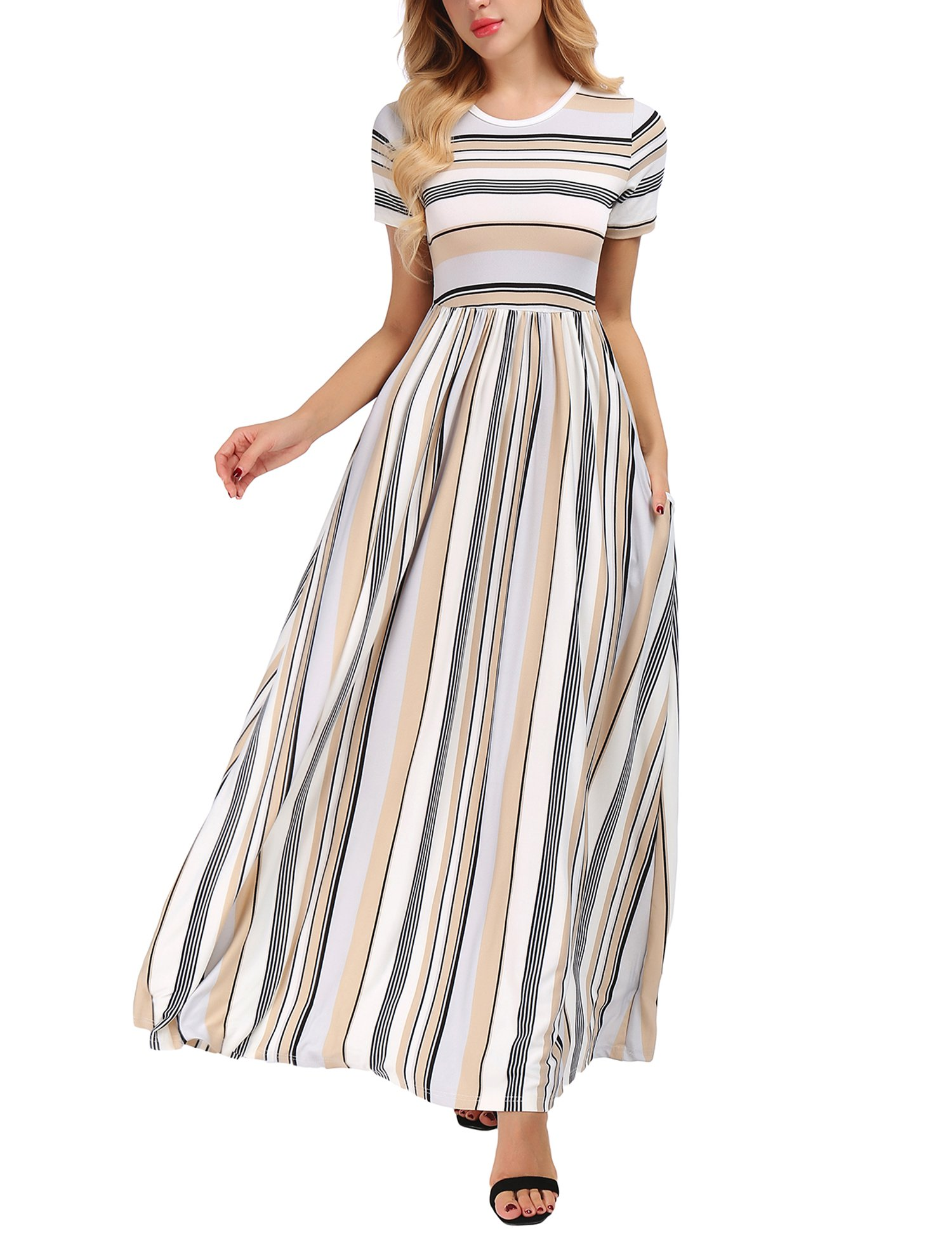 Uniboutique Women's Casual Long Sleeve Elastic Waist Striped Maxi Dress with Pockets