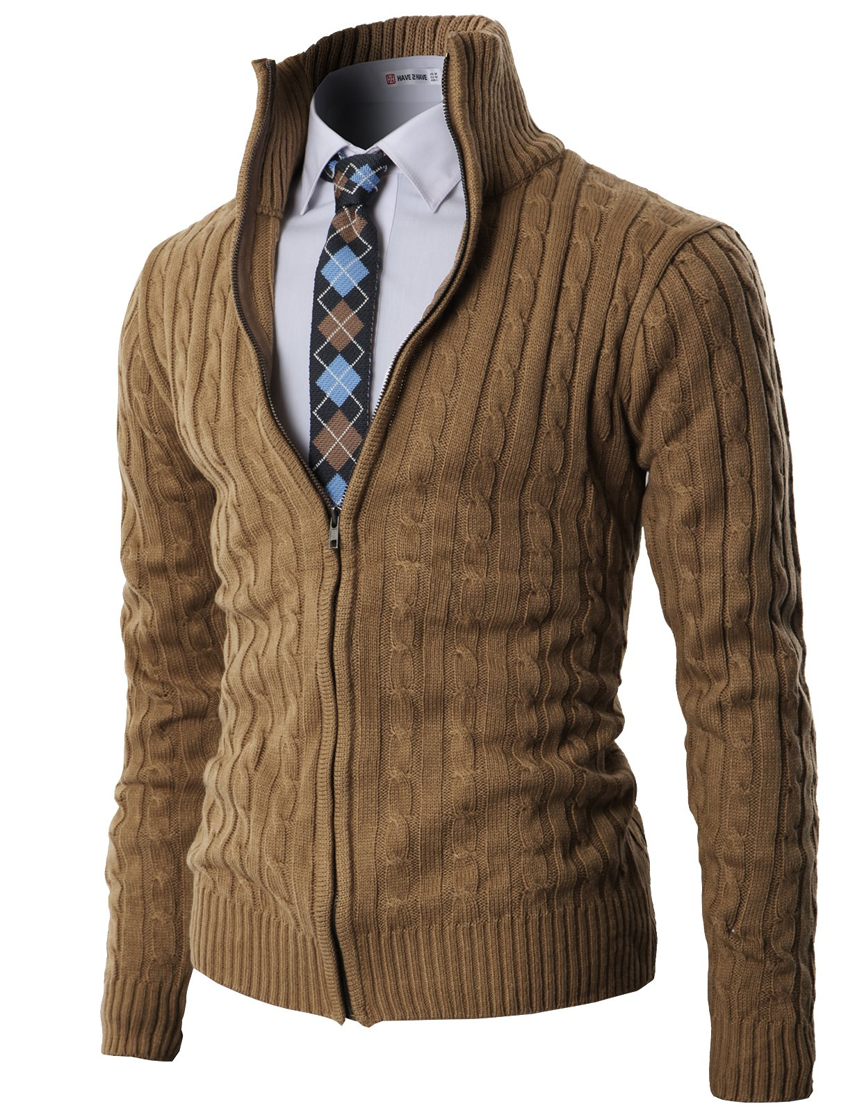 H2H Mens Casual Knitted Cardigan Zip-up with Twisted Pattern - US XL (Asia 2XL) - Kmocal017-beige