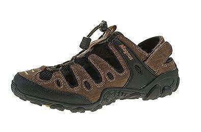 b868dbf200eef5 Magnus Herren Outdoor Sandalen Echt Leder Halb Schuhe Gummizug Sandaletten  Pantoletten Klett Braun-Gelb Gr