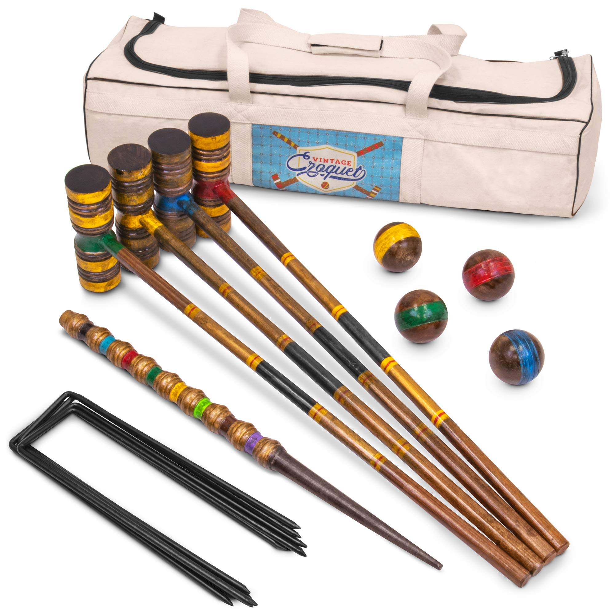 Vintage Wood Premium Croquet Set | 4-player Outdoor Backyard Family Game | Deluxe Set Includes Mallets, Balls, Steel Wickets, and Decorative Stake | Stores in Heavy Duty Canvas Carry Bag by Crown Sporting Goods (Image #1)