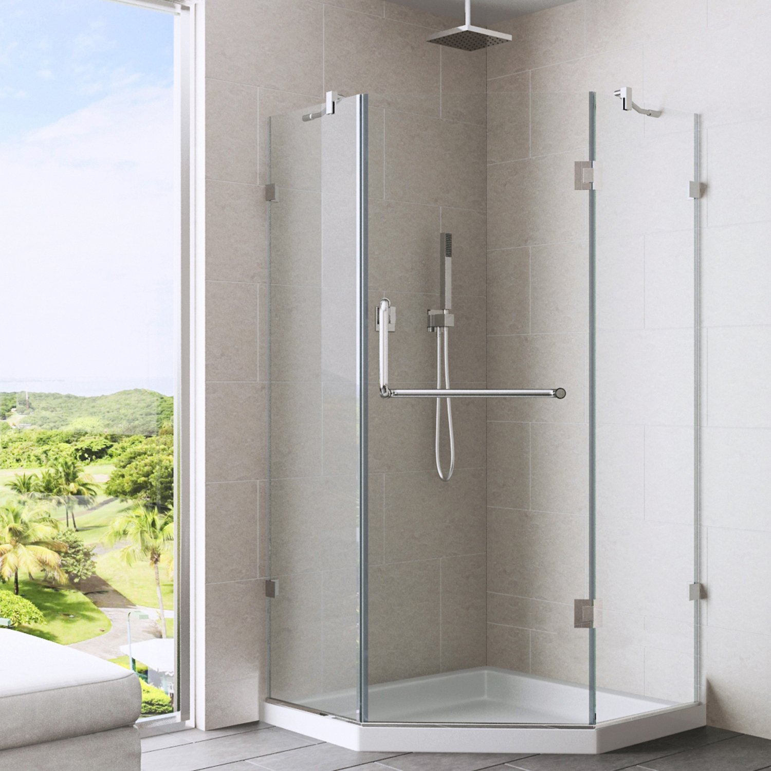 Frameless Neo-Angle Shower Enclosure with .375-in. Clear Glass and Brushed Nickel Hardware (Low-Profile Shower Base Included) - Shower Doors - Amazon.com & VIGO Piedmont 36 x 36-in. Frameless Neo-Angle Shower Enclosure ...