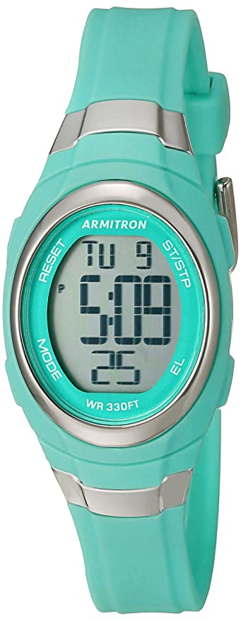 Armitron Sport Women's 45/7034TEL Digital Chronograph Matte Teal Resin Strap Watch