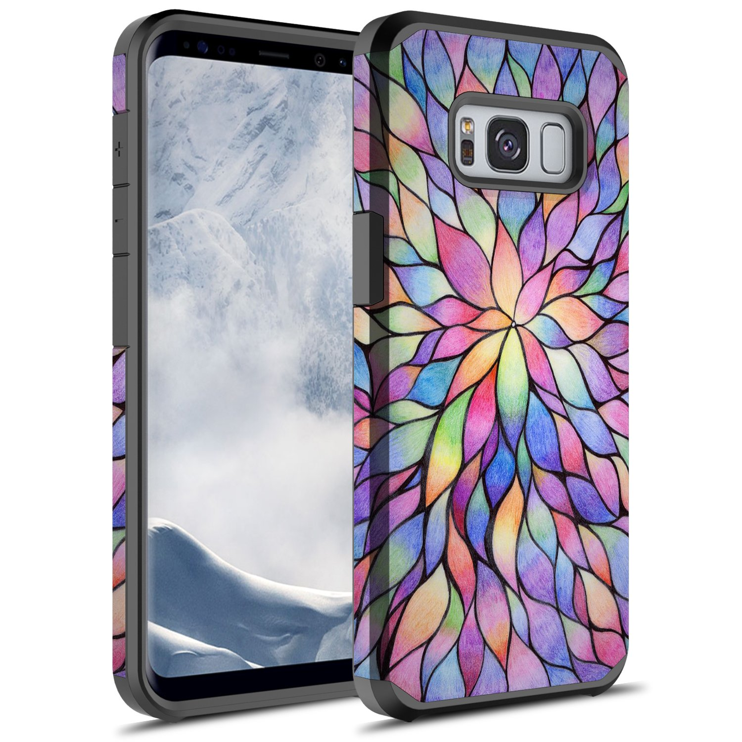 Galaxy S8 Case, GORGCASE [Drop Protection] Dual Layer Graphic Designed Shockproof Hard Hybird Slim Defender Armor Protector Cover for Samsung Galaxy S8 (COLORFUL PETALS) by GORGCASE (Image #1)