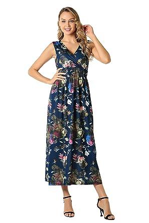 44a21a0f365 BEAUTIFUL-LIFE Women s Summer Casual Sleeveless Floral Print Spring Summer  Dress Beach Skirt (Small