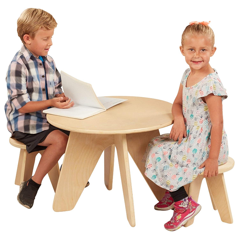 ECR4Kids Dart Table and Stool Kids Seating Set, Wood Furniture Set for Kids