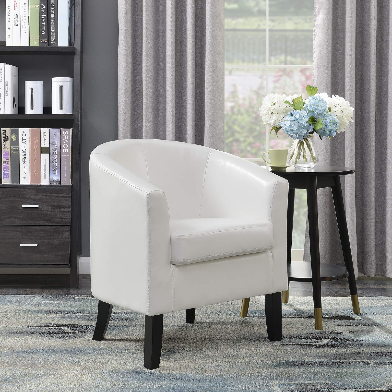 Belleze Club Chair Tub Faux Leather Armchair Seat Accent Living Room, White by Belleze