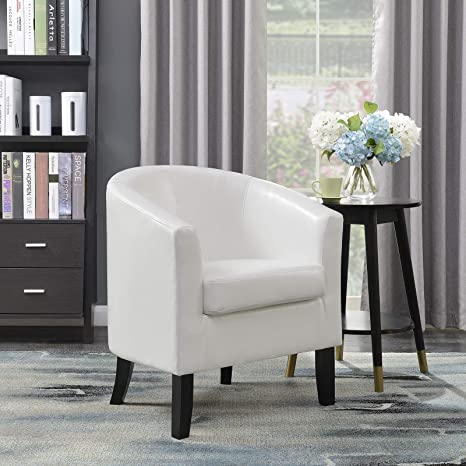 Belleze Club Chair Tub Faux Leather Armchair Seat Accent Living Room, White