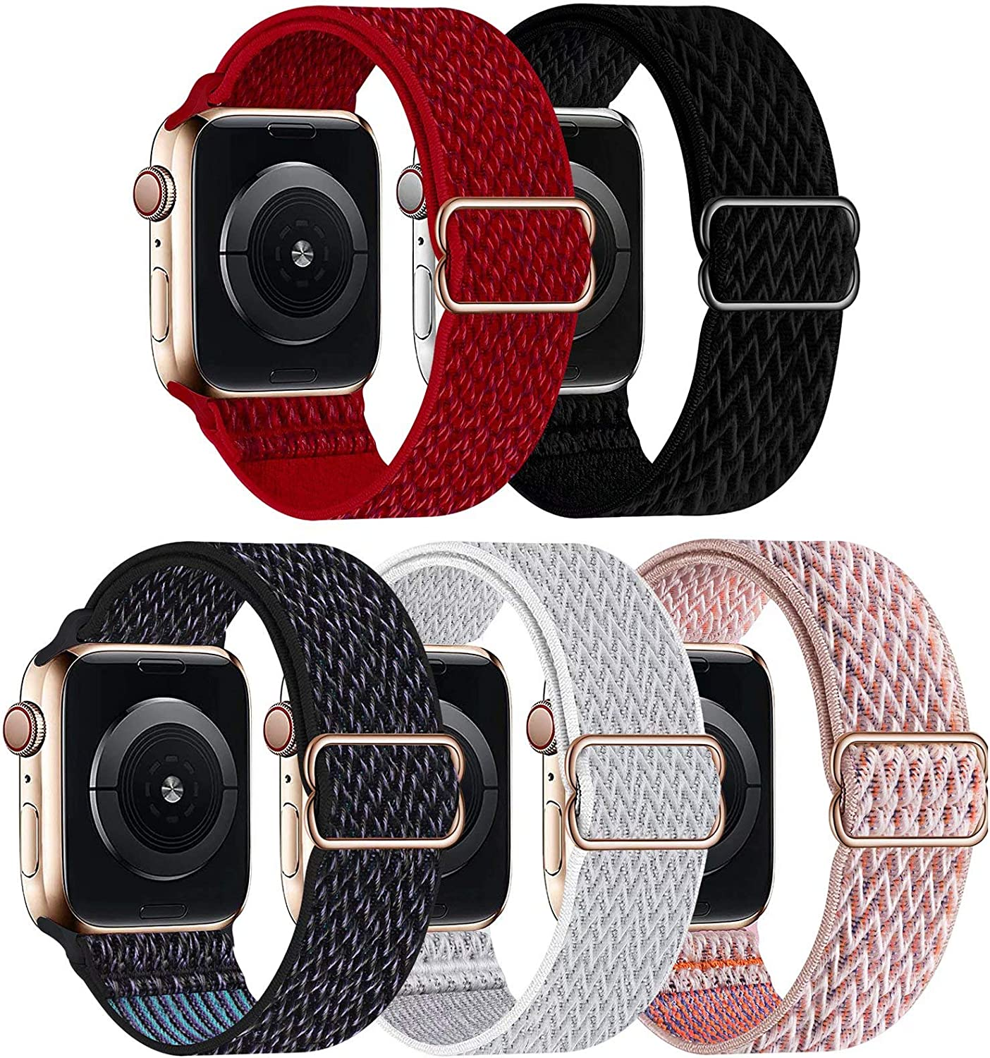 GBPOOT 5 Packs Nylon Stretch Band Compatible with Apple Watch Bands,Adjustable Soft Sport Breathable Loop for Iwatch Series 6/5/4/3/2/1/SE,Red/Black/Hyper Grape/Seashell/Pink Sand,38/40mm