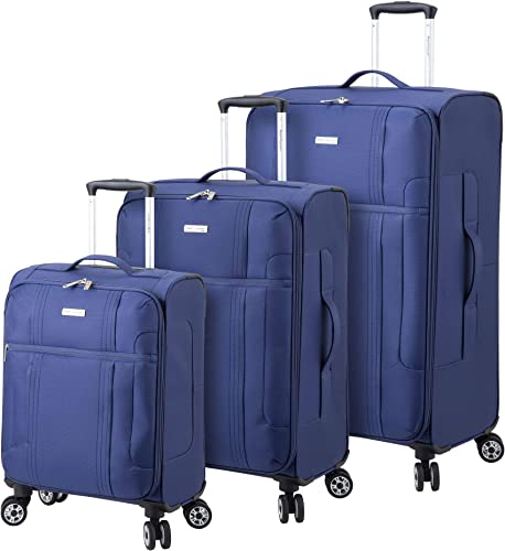 Regent Square Travel – Lightweight Luggage Set With Spinner Goodyear Wheels – Set of 3 Pieces – Soft Case Blue, Small, Medium, Large