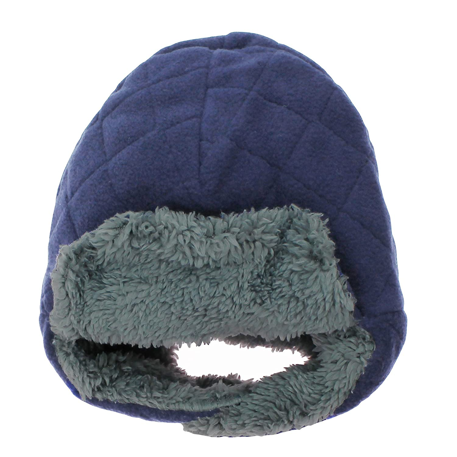 7fc675939da2cb Amazon.com: Nolan Navy Blue Quilted Fleece Trapper Hat with Gray Boa Fuzzy  Lining 12-24 Mths: Baby