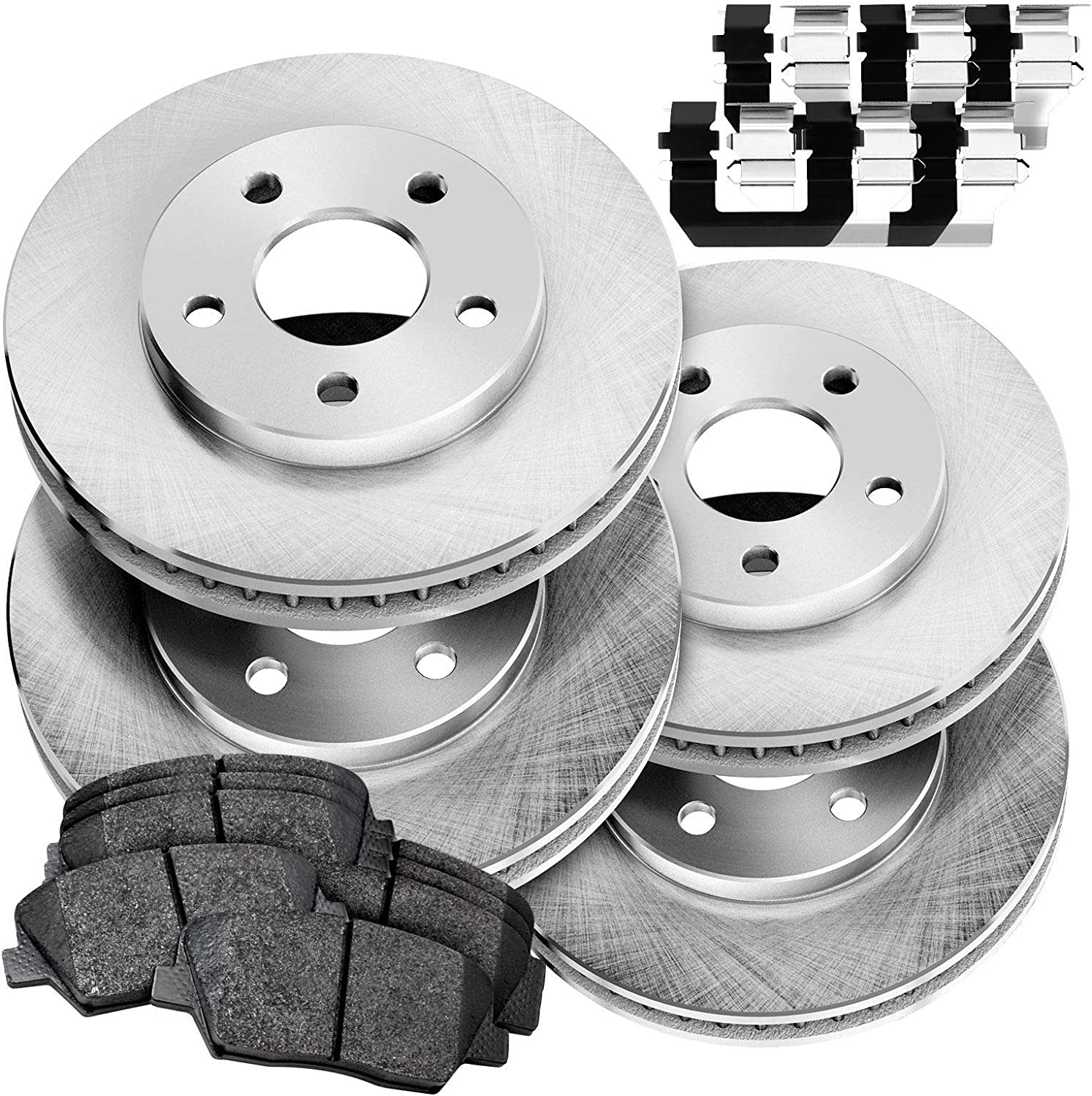 Front+Rear Drilled Slotted Brake Rotors And 8 Ceramic Pads For Sonata Tiburon