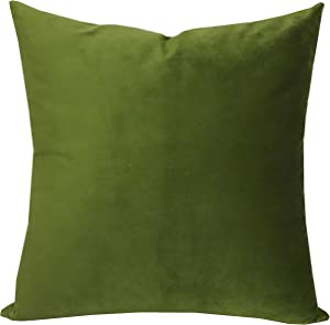 SLOW COW Velvet Solid Throw Pillow Cover Decorative Cushion Cover Pillow Case 18x18 Inches Green