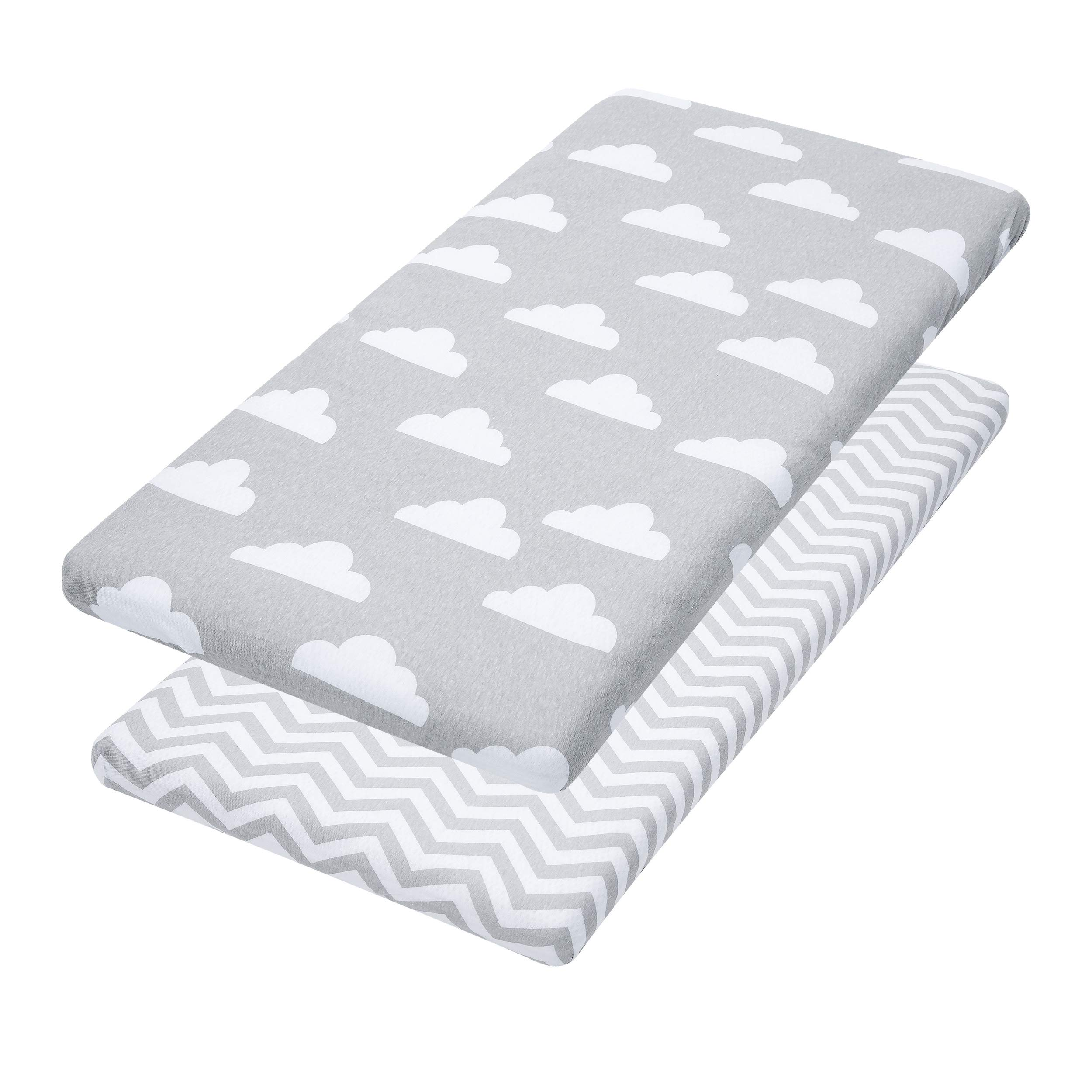 Bassinet Sheets, 2 Pack Cloud & Chevron Fitted Soft Jersey Cotton Cradle Bedding by Jomolly