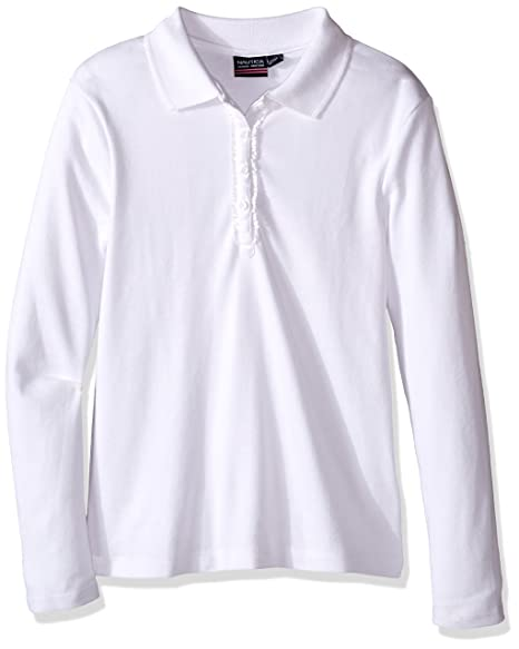 Nautica Big Girls  Uniform Long Sleeve Polo with Ruffle Placket 809d164bccb4