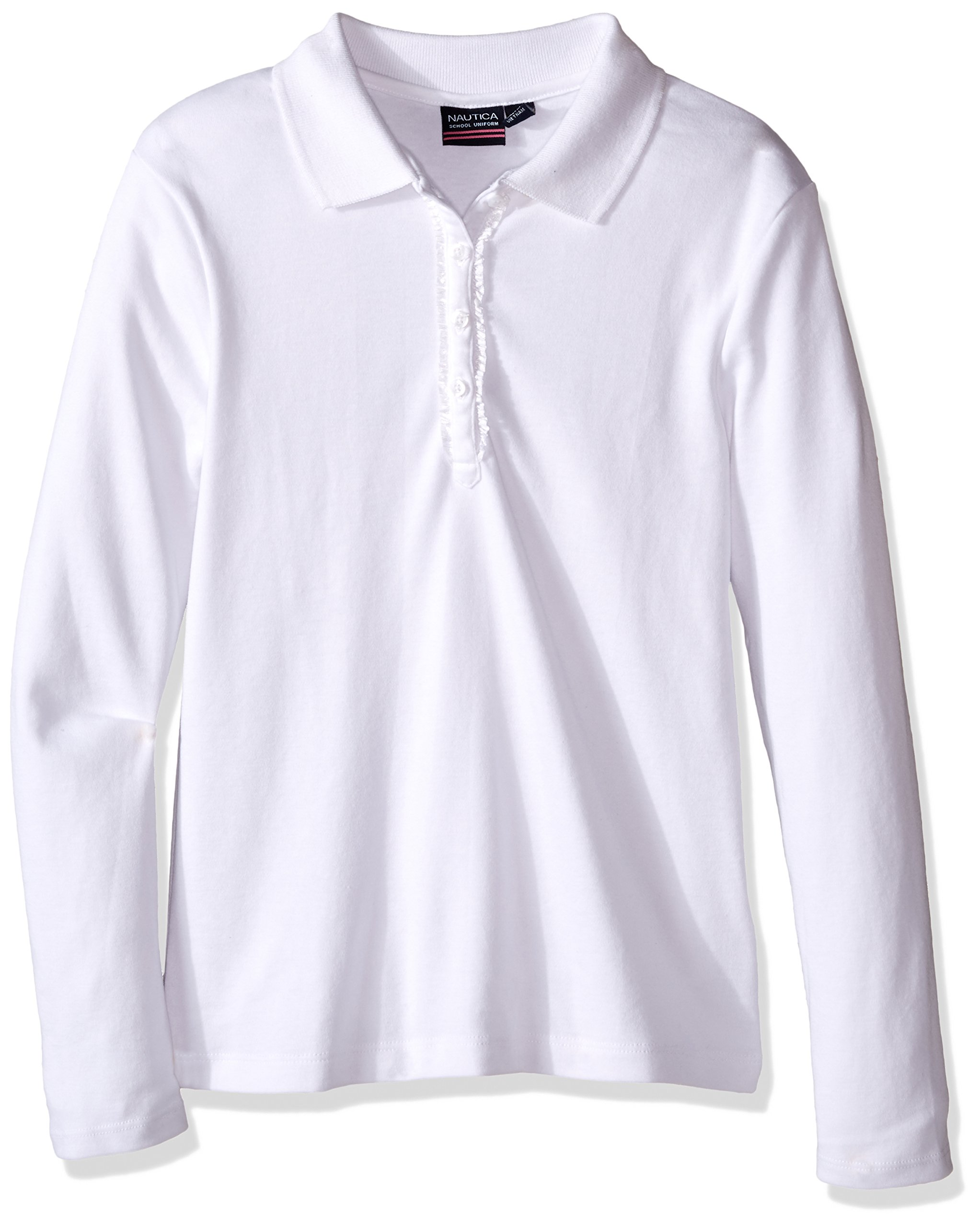 Nautica Girls' Uniform Long Sleeve Polo with Ruffle Placket product image