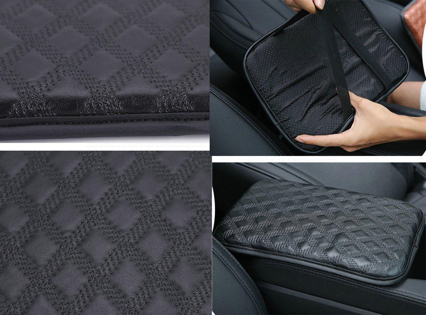 Wall Stickz Car Armrest Cushion Soft Leather Auto Center Console Pad Cover Handrail Box Universal Ergonomic Design Decoration Cushion fit sline