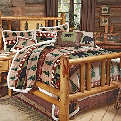 Amazon Com Black Forest Decor Bear Mountain Plush Bed Set Queen