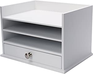 DesignOvation Francesca Desktop Organizer with Letter Trays and Drawer, 12.75x10x9, White