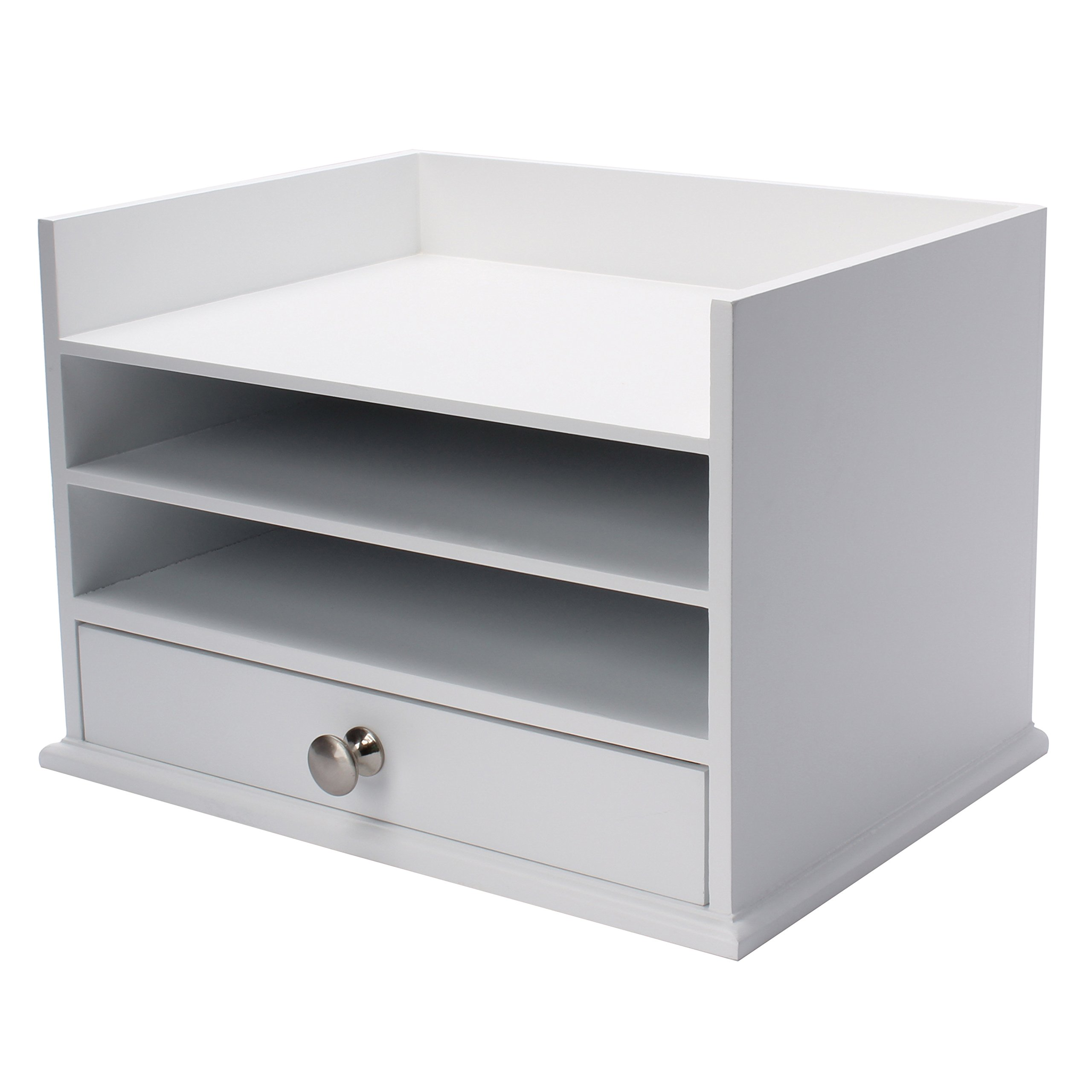 DesignOvation Francesca Desktop Organizer with 3 Letter Trays and Drawer, White by DesignOvation