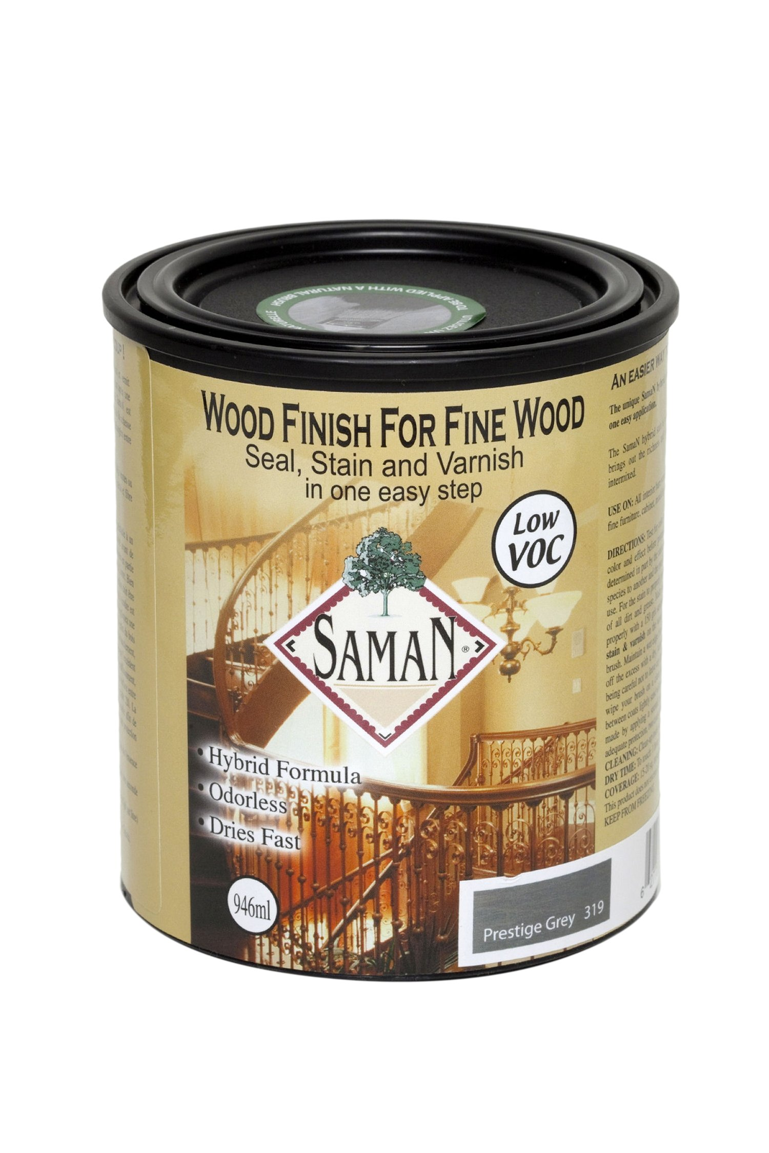 Saman SAM-319-1L Hybrid Interior Stain for Fine Wood for Seal, Stain and Varnish, 1 Liter, Prestige Grey