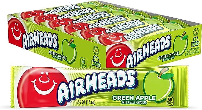Airheads Green Apple Candy - .55 oz. Bar, 36 Pack: Amazon.es: Alimentación y bebidas