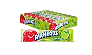 Airheads Candy, Individually Wrapped Full Size Bars, Green Apple, Bulk Taffy, Non Melting, Party, 0.55 oz (Pack of 36) (073390001216)
