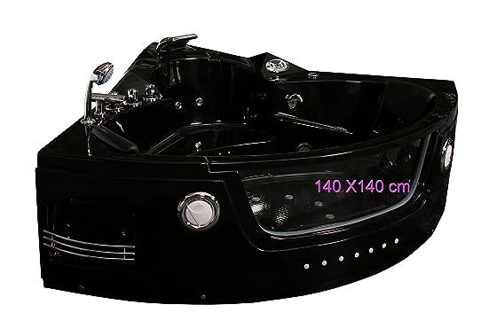 Baignoire Balnéo D'Angle Super Jets-Led Noir Modèle 140 Cm X 140