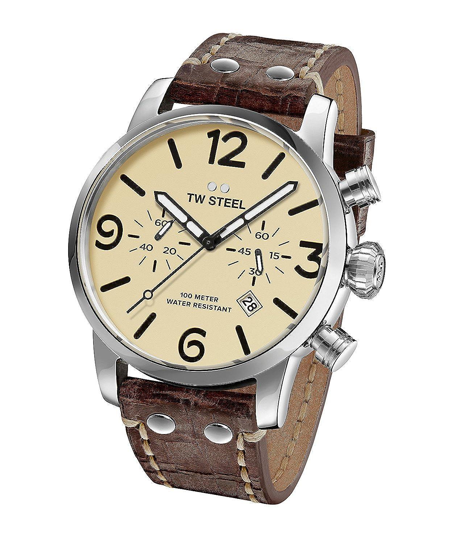 [ティーダブルスティール]TW Steel 腕時計 'Maverick' Quartz Stainless and Leather Casual Watch, MS24 メンズ [並行輸入品] B077KNBFCG