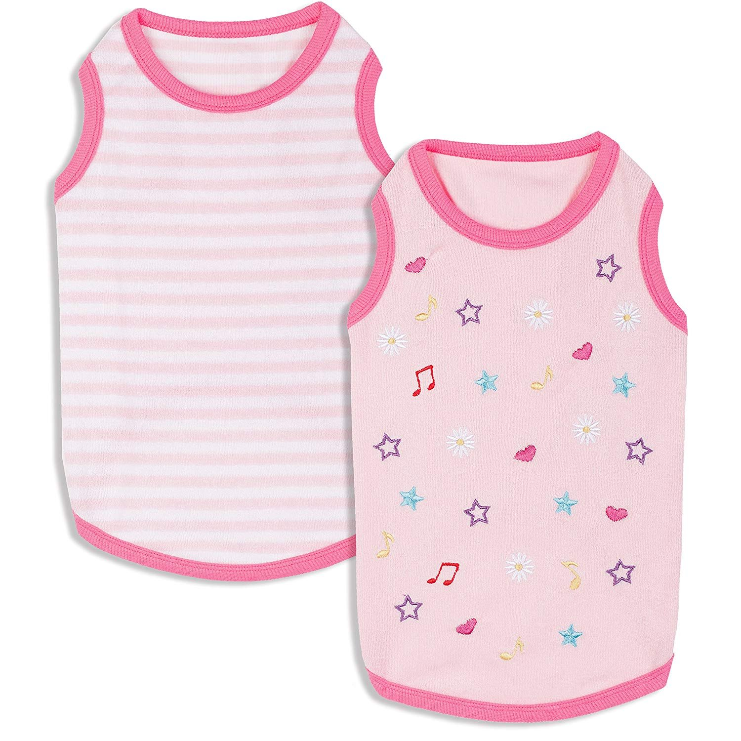 Blueberry Pet Pack of 2 Soft & Comfy Terry Cotton Pink Wonderland Sleep & Play Dog Pajamas & Tank Top T Shirt, Back Length 8'', Clothes for Puppies & Cats