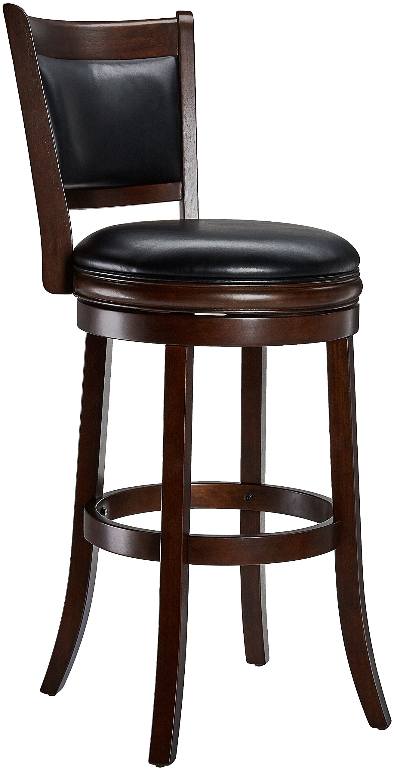 Ball & Cast Jayden Wooden Swivel Bar Stool with Faux-Leather Upholstery - 29 Inch Seat Height, Cappuccino by Ball & Cast