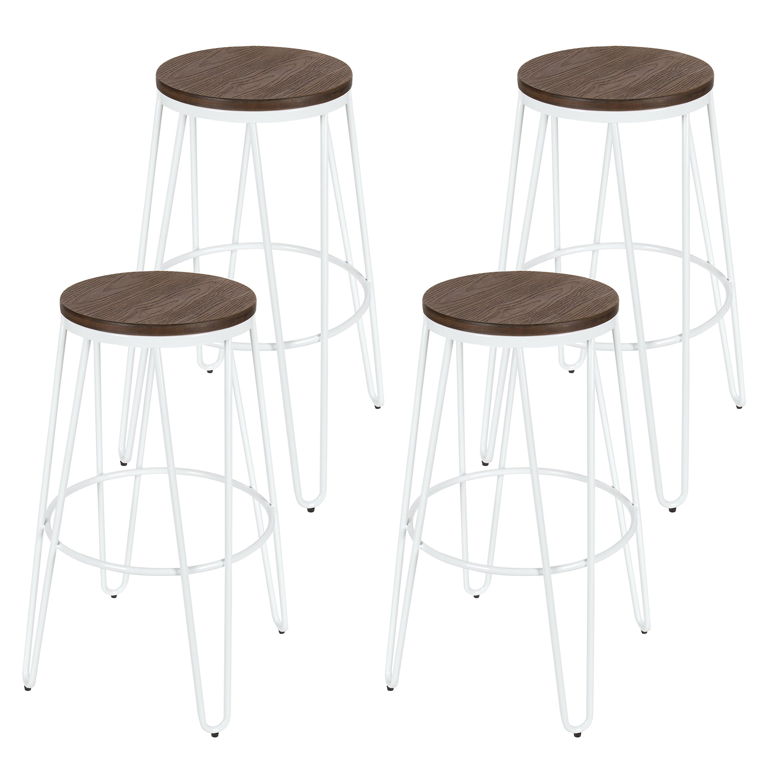 Details About Kate And Laurel Tully Backless Modern Wood And Metal 30 Bar Stools Set Of 4