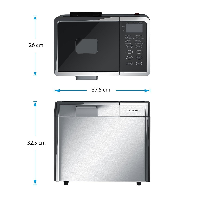 CSL-Computer Arendo Acero Inoxidable - Panificadora (| vollautomatische Panificadora | 12 programas de horneado | de calor & Función para ...