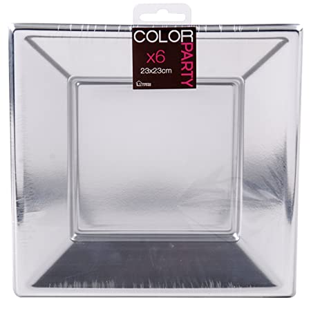 6x Silver Square Plastic Plates - Strong 23cm Party Tableware ...